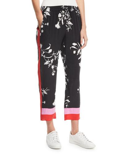 Ceylon Floral-Print Silk Pull-On Pants