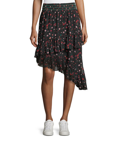 Gorowen Floral-Print A-Line Silk Skirt