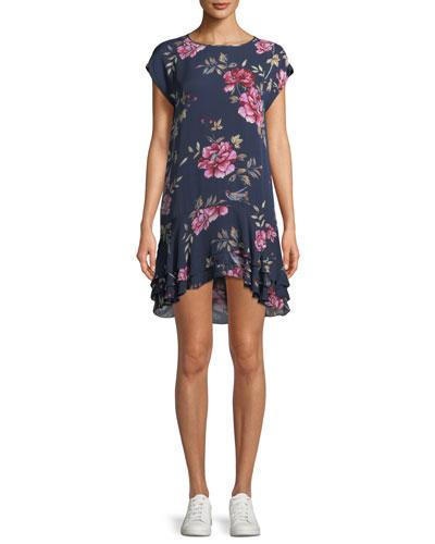 Coreen Round-Neck Floral-Print Silk Shift Dress