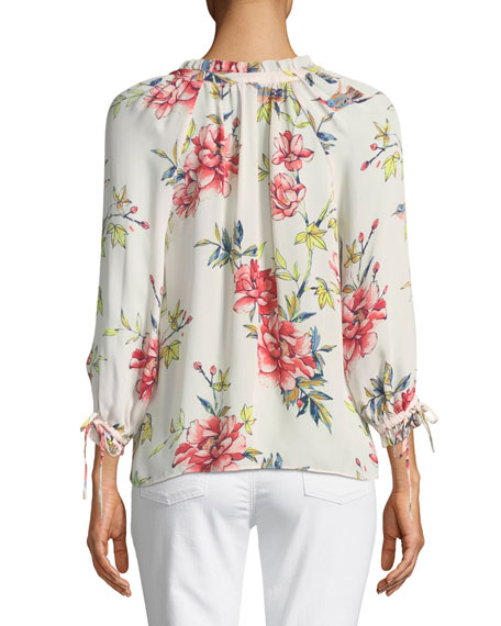 Corsen Button-Front Floral-Print Silk Top