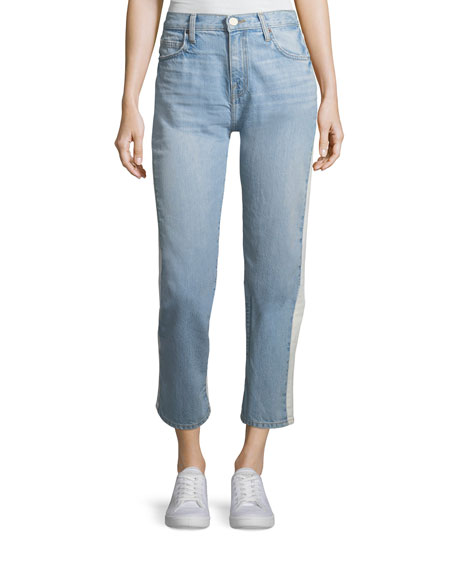 Ace Two-Tone Mid-Rise Straight-Leg Jeans