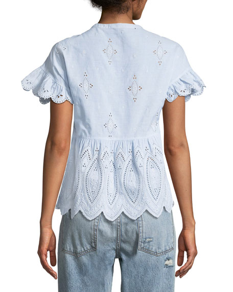 Cerelia Scalloped Eyelet Top
