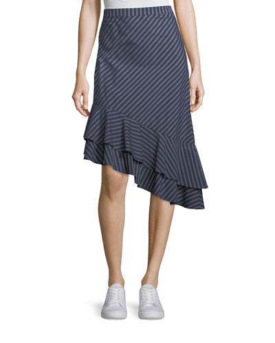 Yenene Striped Asymmetric-Hem Skirt