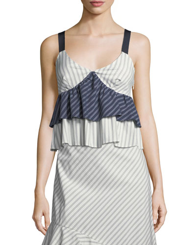 Marjie V-Neck Sleeveless Tiered Striped Top