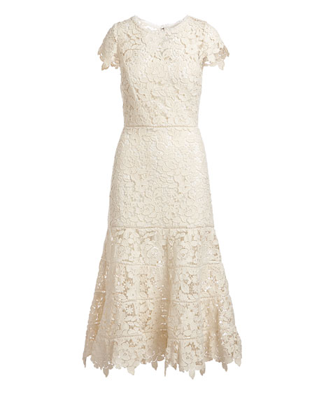 Celedonia Round-Neck Fit-and-Flare Lace Guipure Midi Dress