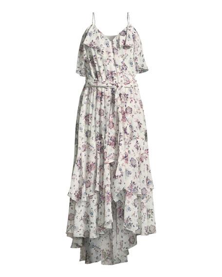 Estilda V-Neck Sleeveless Ruffled Floral-Print Dress