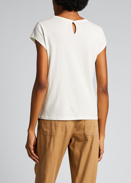 Delzia Crewneck Short-Sleeve Pima Cotton Tee