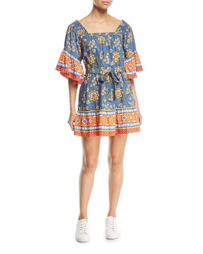 Chloria Floral Self-Tie Mini Dress