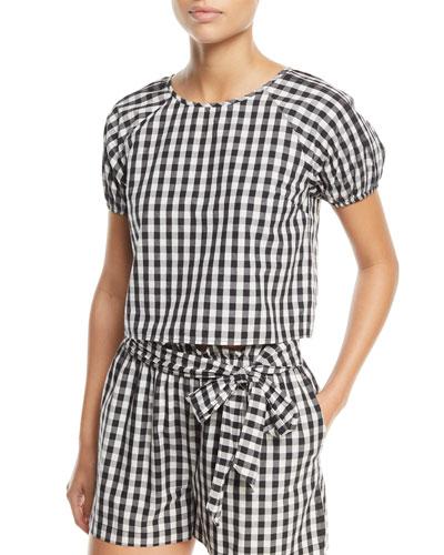 Cirila Short-Sleeve Gingham-Print Cotton Top