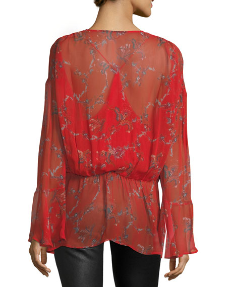 Linette Surplice Long-Sleeve Printed Chiffon Blouse