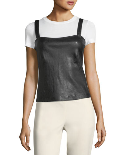 Square-Neck Bristol Leather Perfect Camisole