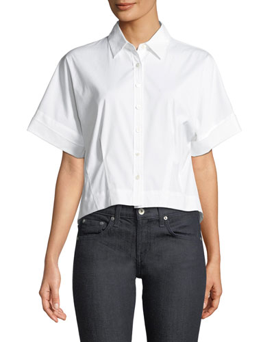 Cropped Button-Front Boxy Stretch-Cotton Shirt