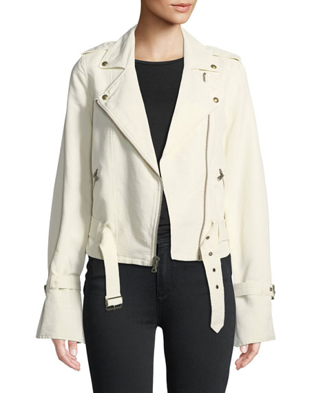 Rhoda Zip Front Twill Moto Jacket by Paige