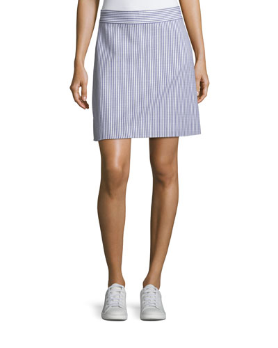 High-Waist A-Line Striped Stretch-Wool Skirt