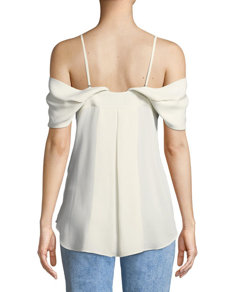 Off-the-Shoulder Button-Down Classic Georgette Blouse