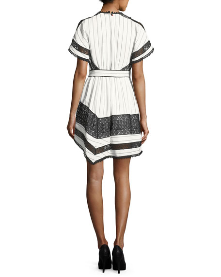 Monochrome Striped Handkerchief Dress with Lace