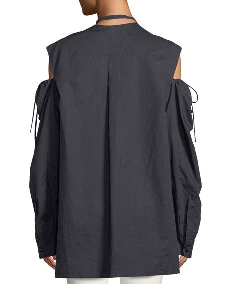 Ripley Chintz Cotton Shirred Cold-Shoulder Shirt