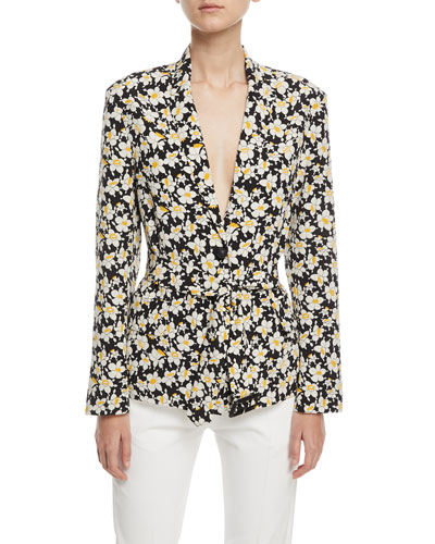 Alex Daffodil-Print Belted Silk Jacket
