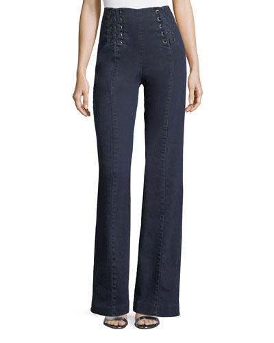Te Amo Lace-Up Boot-Cut Jeans