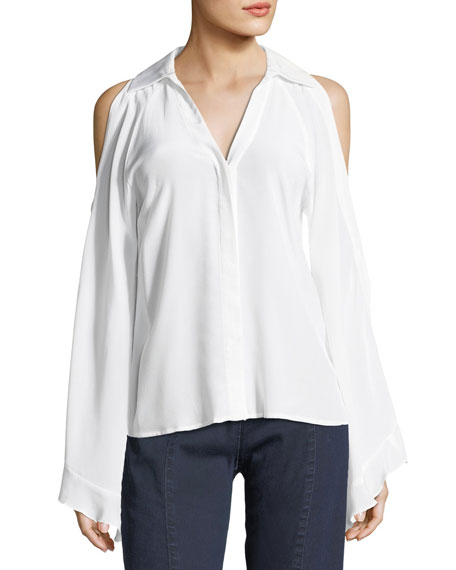 Cordoba Silk Cold-Shoulder Blouse