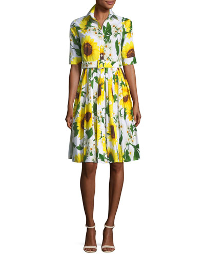 Audrey Sunflower-Print Shirtdress