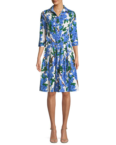 Audrey 3/4-Sleeve Mimosa Floral-Print Dress