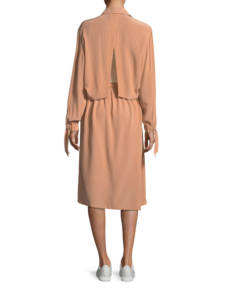 Slit-Back Knee-Length Shirt Dress