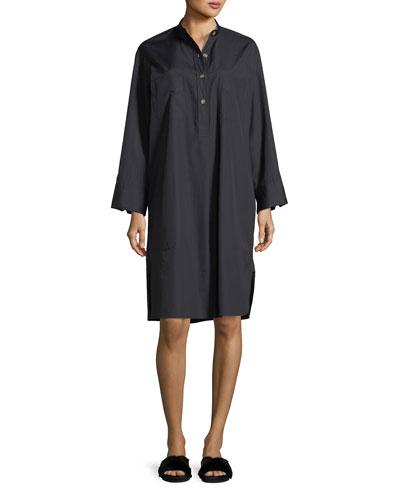 Utility Cotton Long-Sleeve Shirt Dress