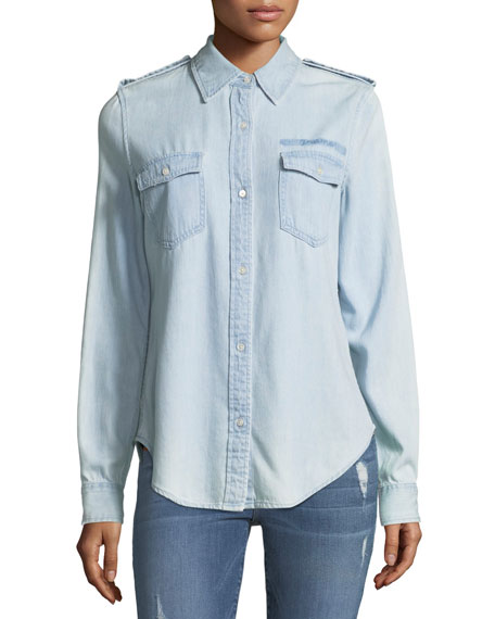 Image 1 of 1: Military-Style Button-Front Denim Shirt