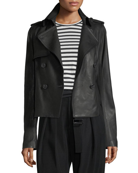 Cropped Lamb Leather Trench Coat by Vince