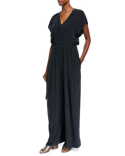 Flutter Cap-Sleeve Wide-Leg Silk Jumpsuit