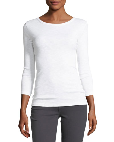 Crewneck 3/4-Sleeve Cotton-Blend Top