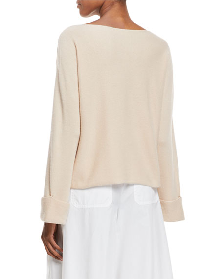 Twisted-Seam Wool-Cashmere Pullover Sweater