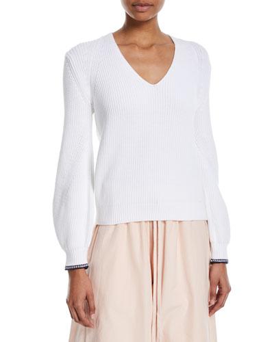 Bishop-Sleeve V-Neck Rib-Knit Sweater