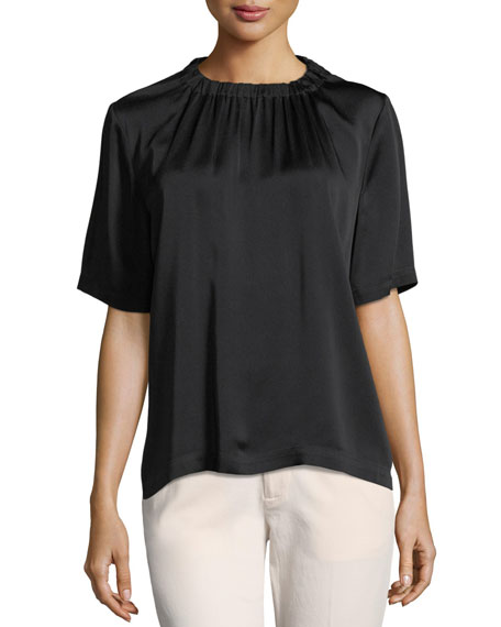 Gathered-Neck Short-Sleeve Top