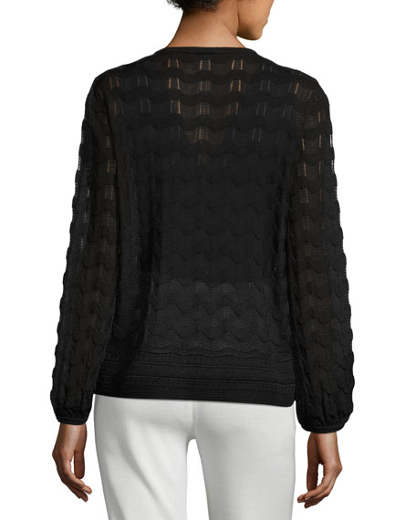 Long-Sleeve Tie-Neck Knit Top