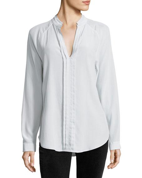 Liana Long-Sleeve Pleated-Front Silk Blouse