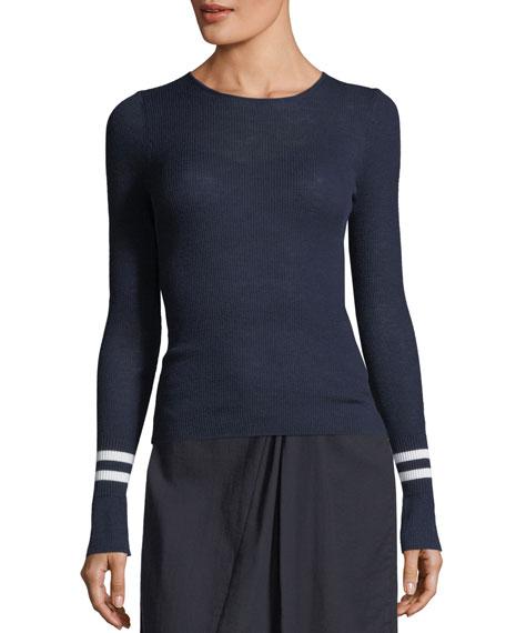 Ribbed Wool Sweater w/ Striped Cuffs