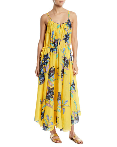 Image 1 of 1: Floral-Print Cinched-Waist Maxi Dress