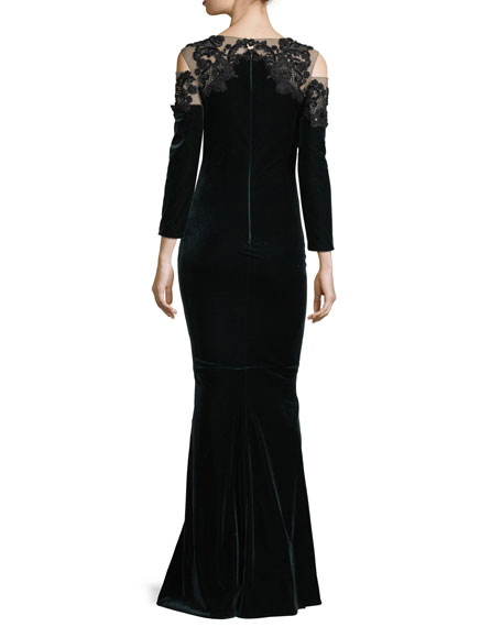 Embroidered Velvet Illusion Column Gown