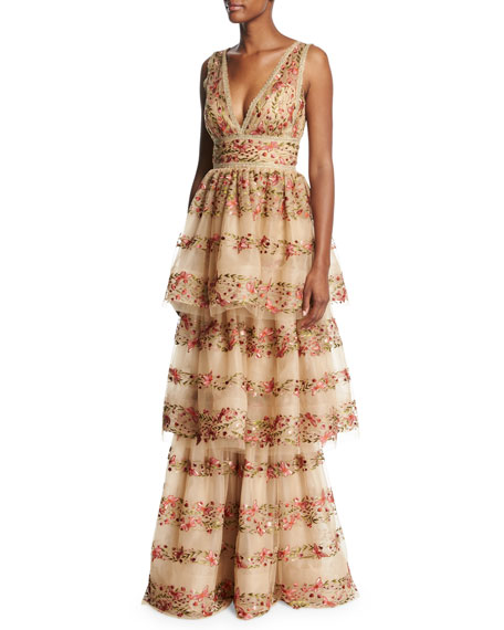 Sleeveless Floral-Embroidered V-Neck Gown