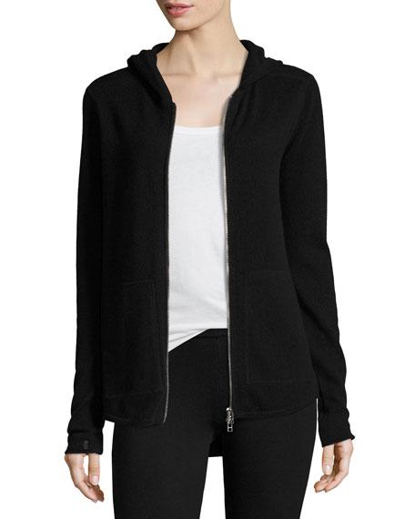 Cashmere-Blend Zip Front Hooded Jacket