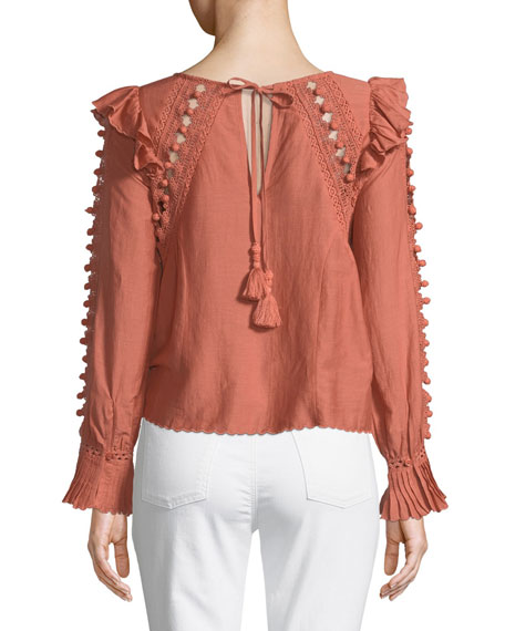 Esther Long-Sleeve Crochet Pompom Blouse