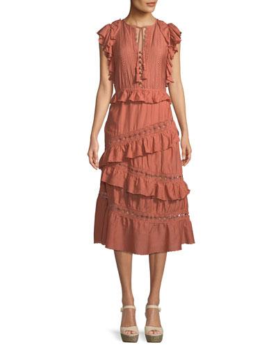 Rosalie Sleeveless Crochet Pompom Ruffle Midi Dress