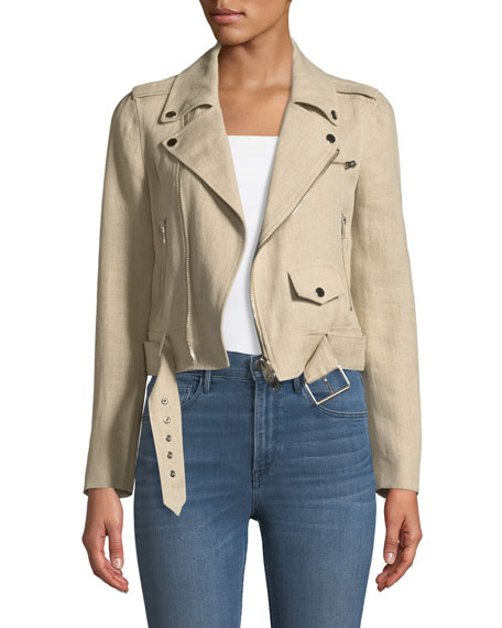 e3e5d1dce1 Theory Shrunken Integrate Linen Moto Jacket