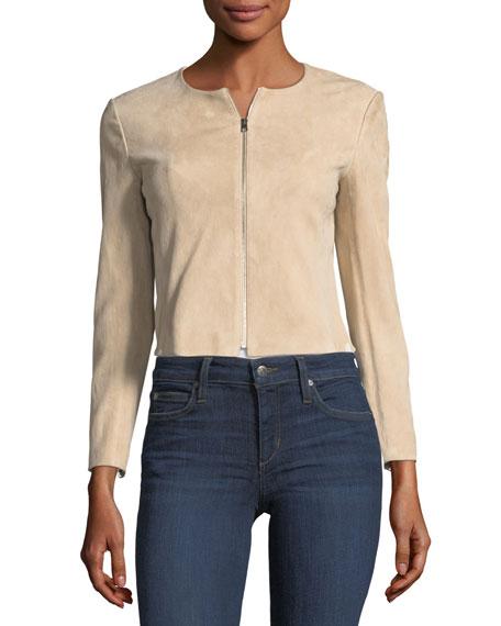 Morene Zip-Front Cropped Stretch-Hide Suede Jacket