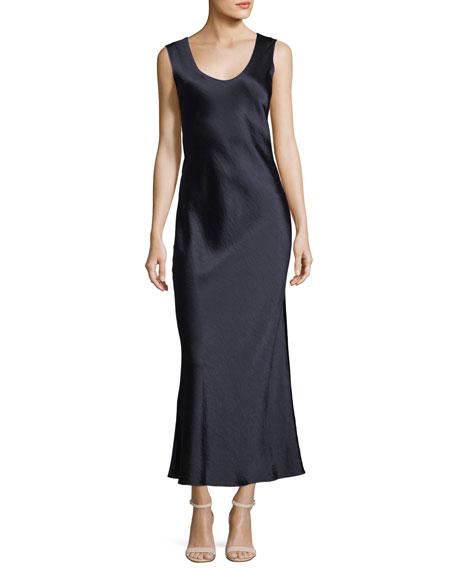 Cowl-Back Sleeveless Double-Sateen Midi Dress