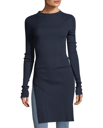 Jewel-Neck Long-Sleeve Prosecco Rib-Knit Tunic
