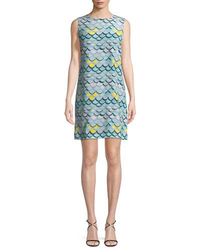 Wave-Print Silk Tank Mini Dress