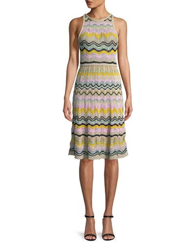 Wave Crochet Fit & Flare Dress